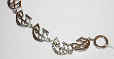 NWT Guess Silver Metal & Clear Rhinestones Gothic Letter G Link Bracelet