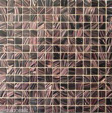 Glasmosaik Mosaik Fliesen Matte Dusche/Pool Schwarz Kupfer-Schimmernd