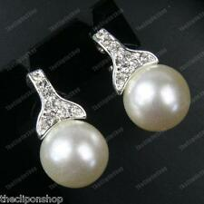 CLIP ON BIG IVORY PEARL&CRYSTAL earrings NON-PIERCED CLIPS silver rhinestone