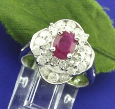 14k Solid White Gold Natural Diamond & Oval Shape Ruby Ring 1.95 ct Pre owned