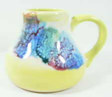 """Jug Handled Ceramic Multi Color Pitcher Yellow 4"""" Tall Rubber Bottom Used  (915)"""