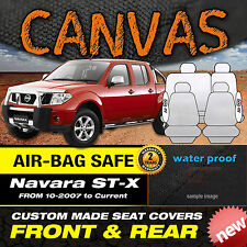 Nissan Navara D40 ST-X BLACK Canvas Custom Made Seat Covers F+R 10/2007-2015+ ST