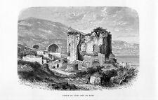 Stampa antica BACOLI Baia Tempio di Venere Terme Romane Napoli 1877 Old print