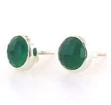 Faceted Green Onyx Stud Earrings in Sterling Silver