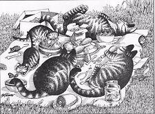 B Kliban Cat Vintage Art Print,Original B Kliban Authentic Kliban Picnic Cats