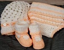 Custom Design Handmade Crochet Peach Mary Jane Baby Booties Hat Diaper Cover Set