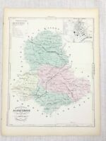 1881 Antique French Map Haute-Vienne Limoges France Hand Coloured Engraving