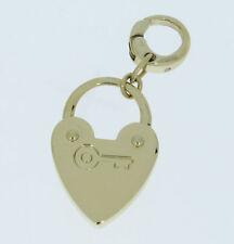 Charm Charms Anhänger von Fossil Herz mit Schlüssel Farbe gold Edelstahl
