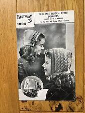 Vintage Bestway Knitting Pattern For Children's Hats
