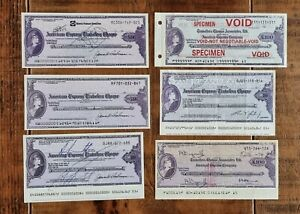 A set of 6 old American Express Travellers Cheques.