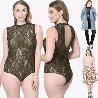 TheMogan PLUS Sleeveless Mock Neck Sheer Lace Bodysuit W Keyhole Cutout Back