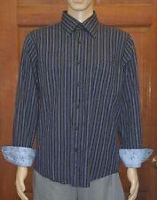 7 Diamonds Mens Flip Cuff Black Striped Button Up Dress Shirt Size XL XLarge(A1)