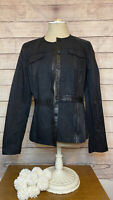 Elie Tahari Women Size M Snap Front Leather Trim Blazer Jacket Snap Front Fitted