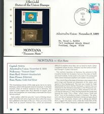 MONTANA-TREASURE STATE-41st' 1ST DAY ISSUE GOLD [22KT] REPLICA STAMP 1988