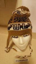 Alpaca Blend REVERSIBLE Peruvian Chullo Winter Ski Earflap Beanie Hat