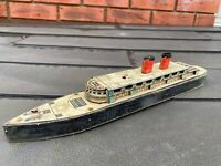 Vintage Tinplate & Wood Cruise Liner - Rare Model Queen Mary Ship Etc?