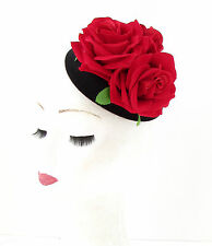 Black Red Rose Flower Pillbox Hat Fascinator Races Rockabilly 1950s Vtg Hair 517