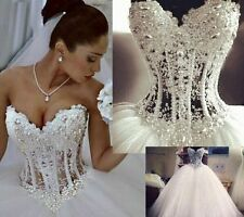 New Luxury White Corset Wedding Dress Pearl Strapless Bridal Ball Gown