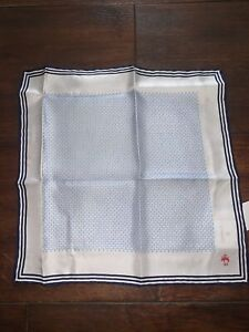 Brooks Brothers Ivory + Anchor Pattern Pocket Scarf: handkerchief RRP £55 SILK
