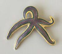 Vintage cloisonne Starfish  Cloisonne  brooch pin in enamel on metal