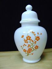 "VINTAGE WHITE GLASS GINGER JAR WITH ORANGE FLOWER DESIGN ~ITALY  11"""