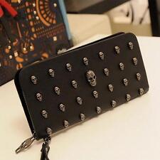 PU Leather Human Skeleton Skull Steampunk Styles Long Zipper Wallet Wristlet one