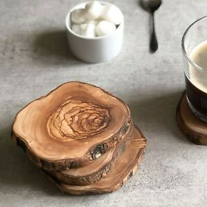 Rustic Olive Wood Set of 4 Coasters - Sustainably Sourced.