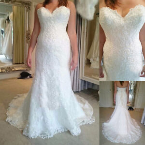 Mermaid Lace Wedding Dress Sweetheart Sleeve Strapless Train Length Bridal Gown