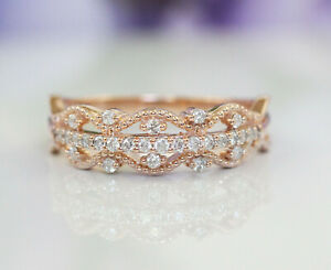 New Dazzling 10K Rose Gold H/VS Natural Diamonds Filigree Fashion Band Ring