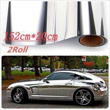 Racing Car 2X 152cm*20cm Electroplated Silver Film Sticker Decal DIY Wrap Sheet