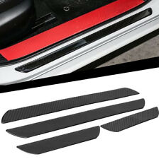 Black Carbon Fiber Car Scuff Door Sill Plate Cover Panel Step Guard Protector