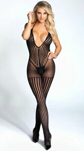 One Size Fits Most Womens Striped Halter Neck Crotchless Bodystocking