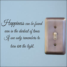 Small Lightswitch Quote Happiness can be found Turn Light on wall sticker A5 4 3