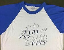 Vintage Mens L 80s High School Pep Band White Blue Sleeves Raglan Hanes T-Shirt