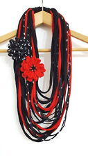 Black Red Scarf Necklace Polka dot Infinity Scarf Flower Pin Red Poppy