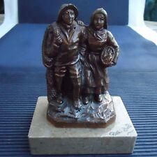 Sculpture Couple Pécheurs Régule Socle Marbre Vissé Riva Bella 12x9x6 Cm 490 Grs