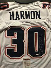 Autographed/Signed DURON HARMON #30 New England White Football Jersey JSA COA