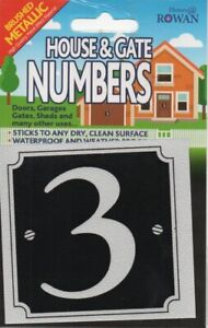 "HOUSE & GATE NUMBERS - ""3"" - BRUSHED METAL STICKER - SILVER - FREE UK POSTAGE"