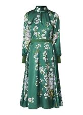Ted Baker JHENNI Green Floral Pleated Dress size 3/UK12/US8