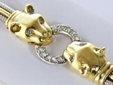 HIGH END 18KT TWO TONE GOLD FINE DIAMOND PANTHER DESIGN W/ DIAMOND EYE BRACELET