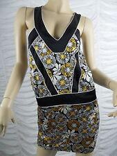 NICOLA FINETTI yellow black white floral print halter neck mini dress size M GUC