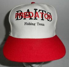 vintage Predator Baits Fishing Team Snapback hat cap Off White & red NEW