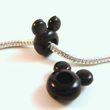 2 Black Disney Mickey Mouse Iconic Face charm for  European Bracelets