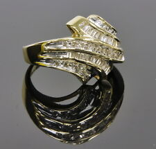 Ladies 10k Yellow Gold 1/2 Cttw Baguette & Round Diamond Cocktail Cluster Ring