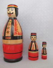 "3 pcs Ukrainian Hutsul  Nesting Doll, Hutsul Man, Traditional, Hand Painted, 6"""