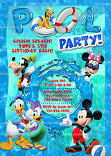 Mickey Mouse Birthday Invitation, Micky Mouse Swimming Pool Party Invite