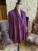 Covington Woman 20/22 Purple Black Wrap Blouse  Beautiful Drape
