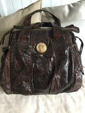Gucci Brown Python Hysteria XL Hobo Tote Shoulder Handbag