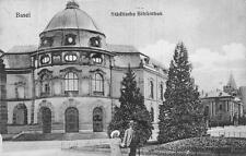 STADITSCHE BIBLIOTHEK BASEL SWITZERLAND TO USA LIBRARY POSTCARD 1911
