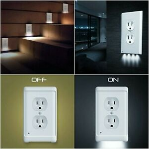 Outlet Wall Plate With LED Night Light Duplex Outlet Cover Ambient Light Sensor